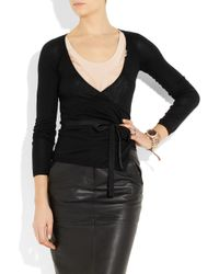 RED Valentino   Black Wool Cardigan With Lace Paneling   Lyst