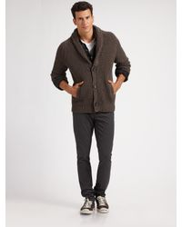 Vince | Brown Thermal Shawl-collar Cardigan for Men | Lyst