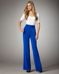 Alice + Olivia | Blue High-waist Wide-leg Pants | Lyst