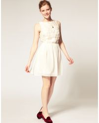 ASOS Collection | White Asos Skater Dress with Flower Applique | Lyst