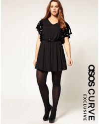 ASOS Collection | Black Asos Curve Exclusive Playsuit with Sequin Sleeves | Lyst