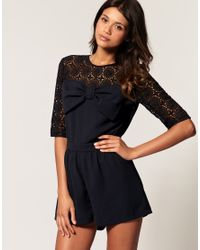 ASOS Collection | Black Asos Lace Bow Playsuit | Lyst