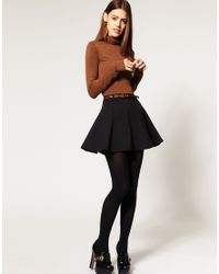 ASOS Collection   Black Asos Ponti Mini Skirt with Belt   Lyst