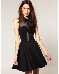 ASOS Collection | Black Asos Skater Dress with Collar | Lyst