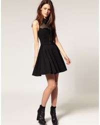 ASOS Collection - Black Asos Skater Dress with Collar - Lyst