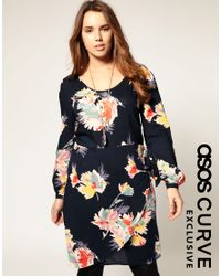 ASOS Collection - Multicolor Asos Curve Exclusive Dress in Blurred Floral - Lyst