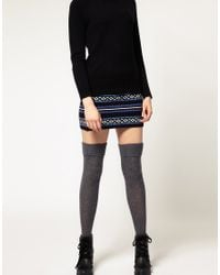 ASOS Collection - Gray Wool Cable Over The Knee Socks - Lyst