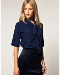 ASOS Collection | Blue Asos Short Sleeve Pussybow Cotton Blouse | Lyst