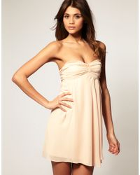 ASOS Collection | Natural Dress with Tie Back Chiffon Drape | Lyst