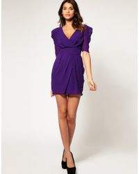 ASOS Collection | Purple Asos Cross Over Tulip Dress with Ruched Sleeves | Lyst