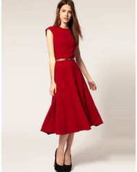 ASOS Collection - Red Asos Midi Dress with Contrast Belt - Lyst