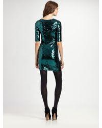 BCBGMAXAZRIA - Green Marta Three-quarter Sleeve Sequin Dress - Lyst