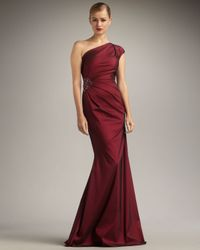 David Meister | Red Cap-sleeve One-shoulder Gown | Lyst