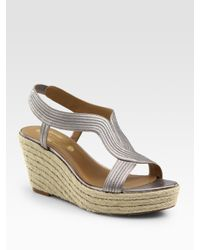 Elie Tahari | Gray Rochelle Metallic Leather Espadrille Slingback Wedge Sandals | Lyst