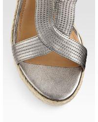 Elie Tahari   Gray Rochelle Metallic Leather Espadrille Slingback Wedge Sandals   Lyst