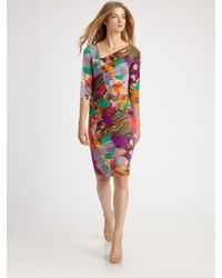 Etro | Purple Ruched Floral Dress | Lyst