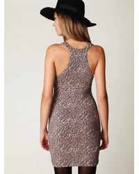 Free People - Pink Animal Knit Bodycon Dress - Lyst