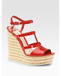 Gucci | Red Eilin Patent Leather and Cork Wedge Sandals | Lyst