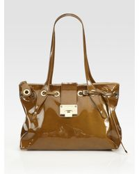 Jimmy Choo - Brown Small Patent Leather Tote Bag - Lyst