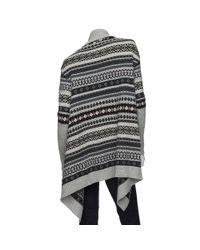 Juliette Jake - Gray Exclusive Oversized Fairisle Wrap Sweater - Lyst