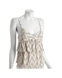 Marc By Marc Jacobs | White Tinted Pearl Stripe Zaza Double Ruffle Tankini | Lyst