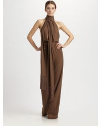 Michael Kors | Brown Silk Marocine Scarf Neck Jumpsuit | Lyst