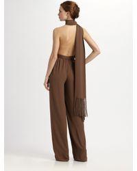 Michael Kors | Brown Silk Marocine Scarf Neck Jumpsuit | Lyst