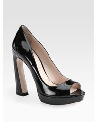 Miu Miu | Black Patent Leather Peep Toe Flared Heel Pumps | Lyst