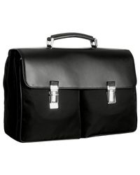 Prada | Black Nylon Dual Pocket Flap Briefcase for Men | Lyst