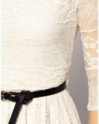 River Island | Beige Belted Lace Dress | Lyst
