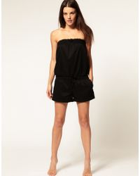 Seafolly | Black Cotton Playsuit | Lyst