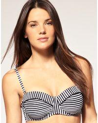 Seafolly - Black Pin Stripe D Cup Bustier Bikini Top - Lyst