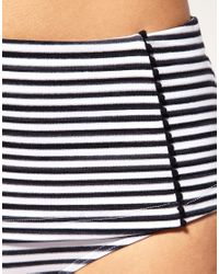 Seafolly - Black Pin Stripe High Waisted Bikini Bottom - Lyst