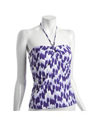 Shoshanna | Purple French Kiss Print Ring Tankini Top | Lyst