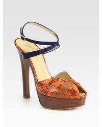 Vionnet | Brown Suede and Snake-print Leather Platform Sandals | Lyst