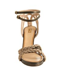 Chloé - Natural Black and Gold Metallic Leather Braided Heeled Sandals - Lyst