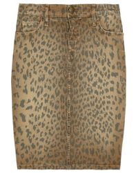 Current/Elliott | Multicolor Stiletto Leopard-print Stretch-denim Skirt | Lyst