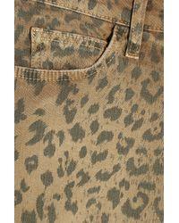 Current/Elliott | Multicolor Stiletto Leopard-print Stretch-denim Skirt | Lyst