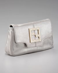 Fendi | Metallic Crystal Zucca Flap-top Clutch | Lyst