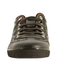 Gucci | Black Gg Imprimé Barcelona Lace-up Sneakers | Lyst