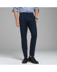 J.Crew | Blue Bowery Slim Pant In Tonal Black Watch Cotton for Men | Lyst