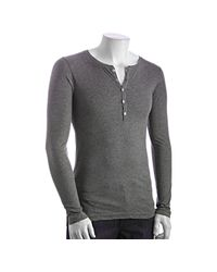 LNA | Gray Heather Grey Cotton Long Sleeve Henley for Men | Lyst