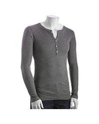 LNA - Gray Heather Grey Cotton Long Sleeve Henley for Men - Lyst
