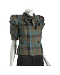 Marc By Marc Jacobs | Green Dull Olive Plaid Wool-silk Brodie Puff Sleeve Blouse | Lyst