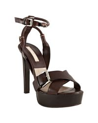 Michael Kors | Brown Leather Crisscross Platform Sandals | Lyst
