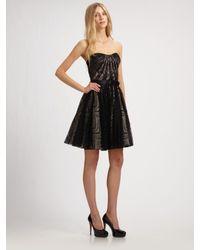 Aidan Mattox - Black Strapless Lace Dress - Lyst