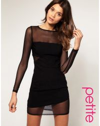 ASOS Collection | Black Asos Petite Mesh Panel Open Back Dress | Lyst