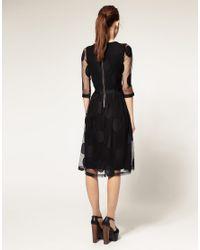 ASOS - Black Midi Dress In Mesh Spot - Lyst