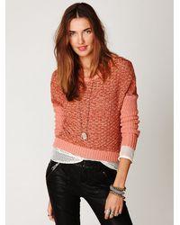 Free People - Pink Slubby Stripe Pullover - Lyst