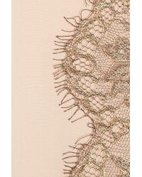 Tibi | Natural Lace-front Silk-chiffon Blouse | Lyst